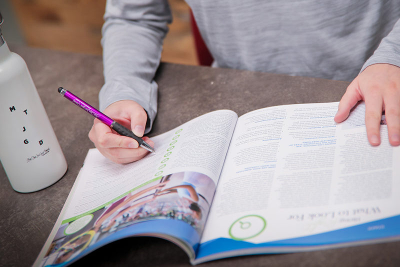 writing in a magazine
